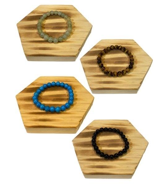 Bracelet pierres fines naturelles - roulées 8 mm